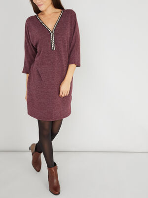 Robe dos dentelle unie prune femme