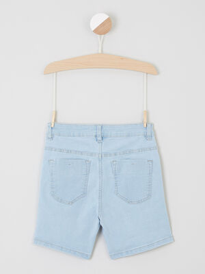 Bermuda uni avec bouton denim bleach fille