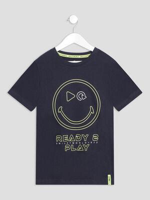 T shirt Smileyworld bleu fonce garcon