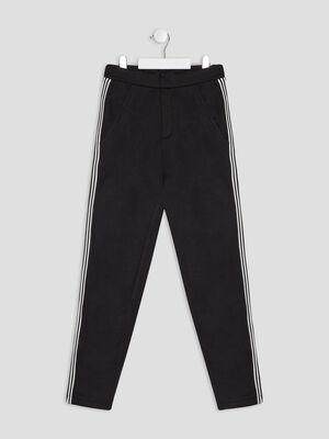 Pantalon droit avec bandes noir fille