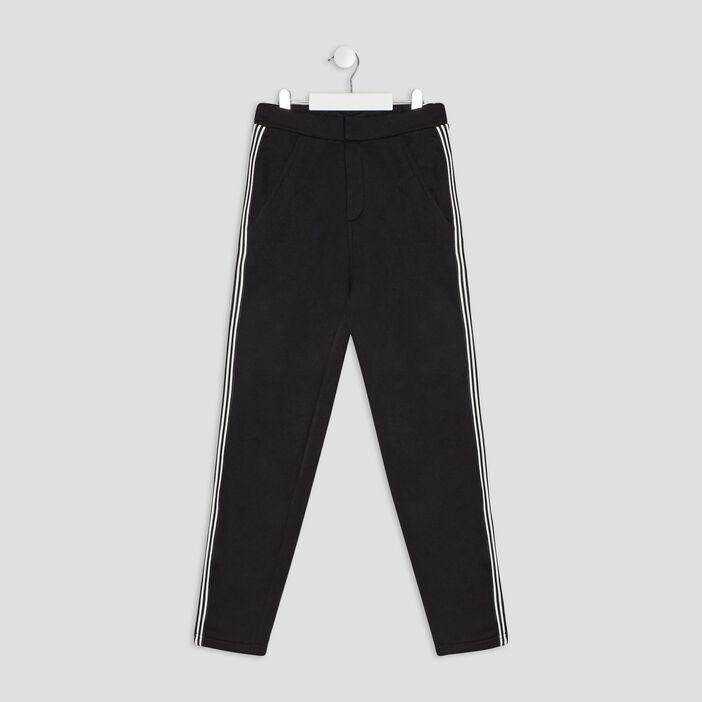Pantalon droit avec bandes fille noir