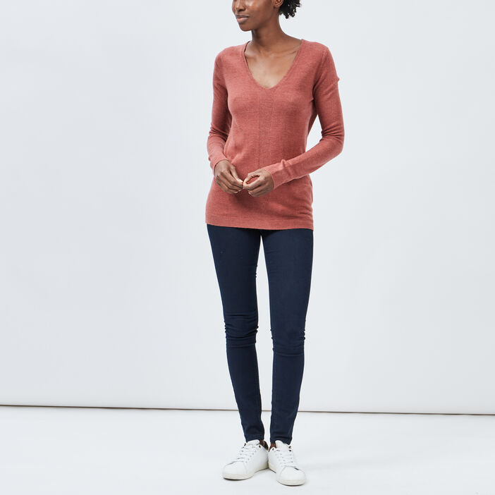 Pull manches longues femme rose