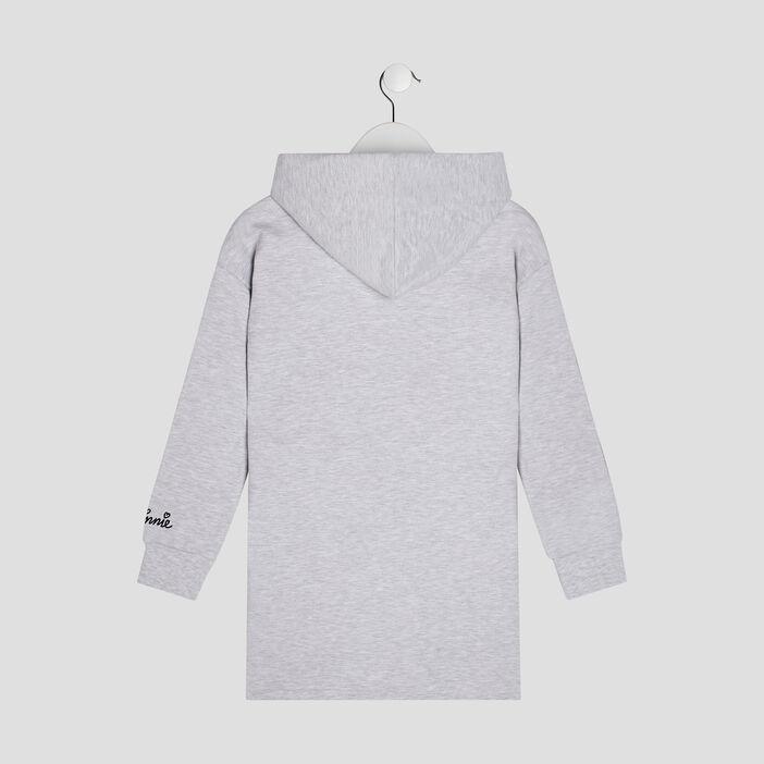 Robe droite à capuche Minnie fille gris clair