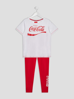 Ensemble pyjama Coca Cola blanc fille