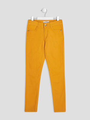 Pantalon skinny jaune moutarde fille