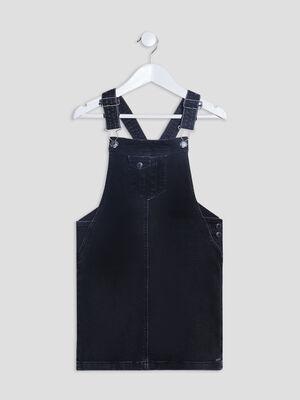 Robe salopette droite en jean denim noir fille