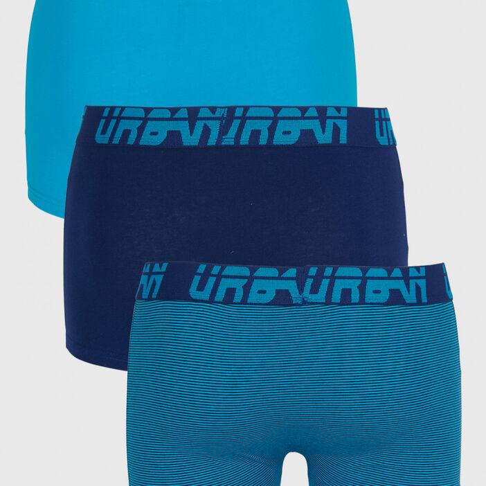 Lot 3 boxers en coton homme bleu turquoise