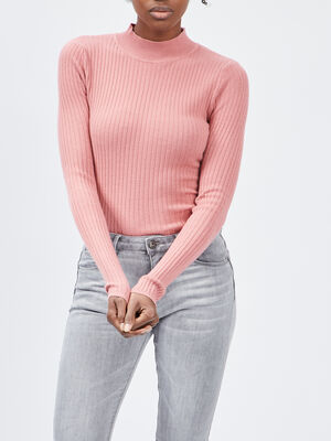 Pull col montant rose femme