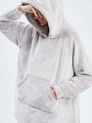 Sweat de pyjama a capuche taupe femme