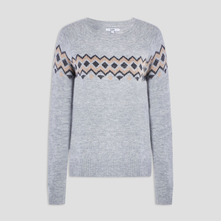 Pull manches longues femme gris