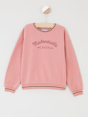 Sweat avec message imprime rose fille