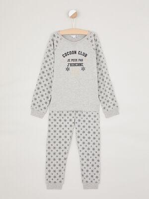 Pyjama imprime en coton melange gris fille