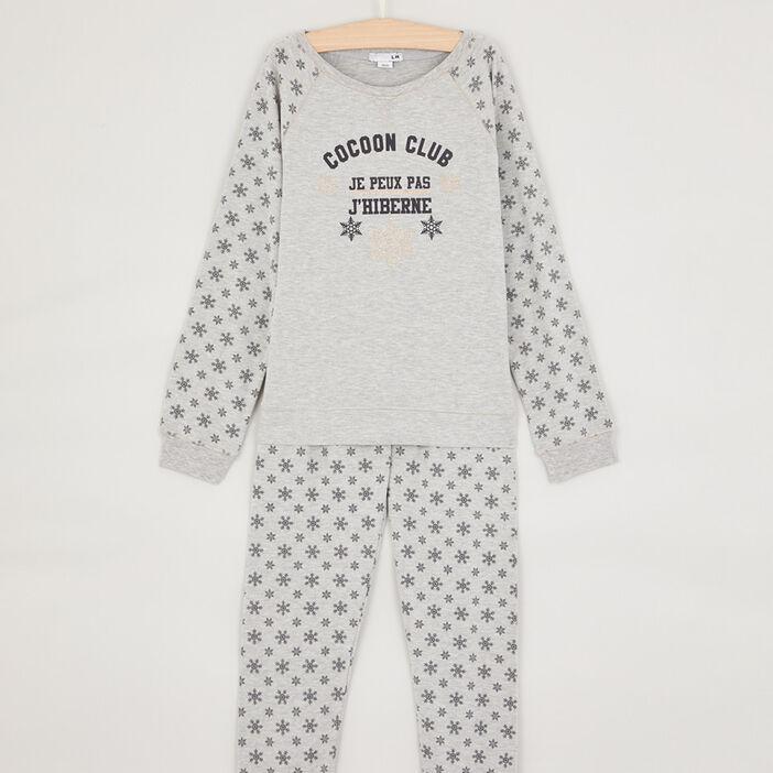 Pyjama imprimé en coton mélangé fille gris