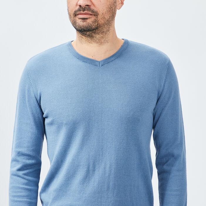 Pull avec col en V homme bleu gris