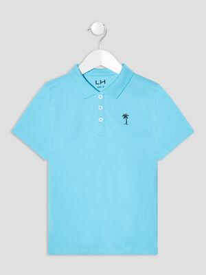 Polo manches courtes bleu turquoise garcon