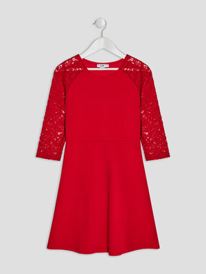 Robe evasee a dentelle rouge fille