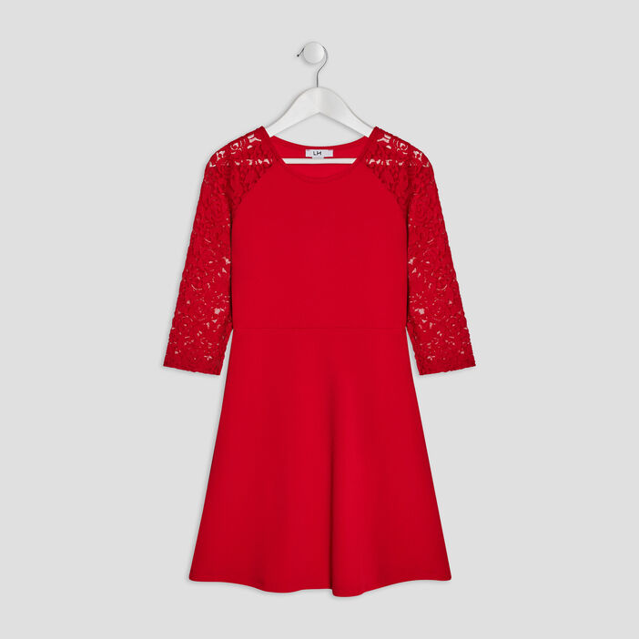 Robe évasée à dentelle fille rouge