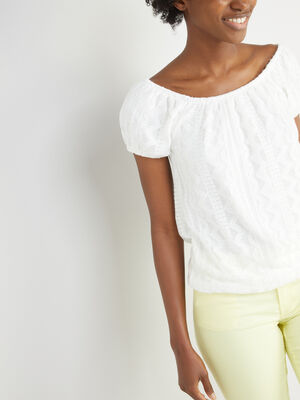 T shirt motifs geometriques col bardot ecru femme