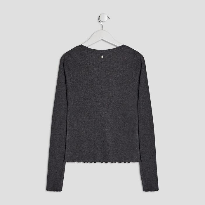 T-shirt côtelé Liberto fille denim snow noir