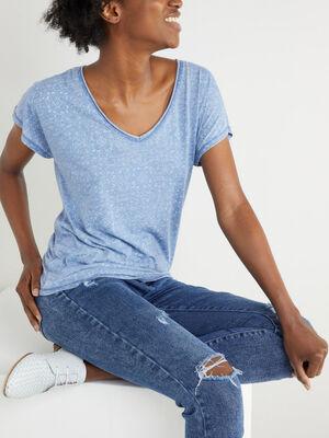 T shirt imprime manches courtes bleu femme