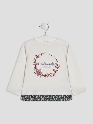 Pull avec goutte boutonnee rose clair fille
