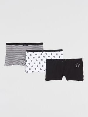 Lot de 3 boxers imprimes coton noir fille