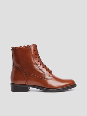 Bottines zippees dentelees marron femme