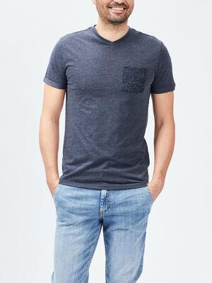 T shirt Trappeur bleu homme