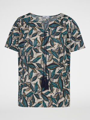 T shirt imprime avec lien pompon bleu marine femme