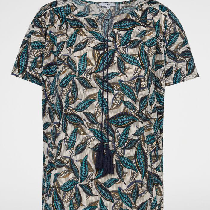 T-shirt imprimé avec lien pompon femme bleu marine