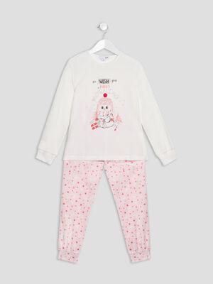 Ensemble pyjama 2 pieces ecru fille