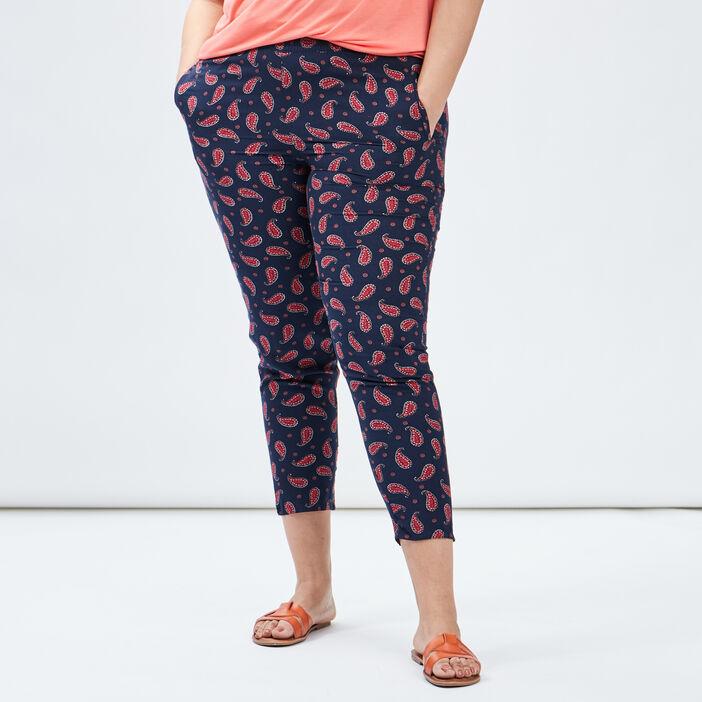Pantalon carotte femme grande taille bleu marine