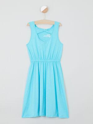 Robe coton La Reine des Neiges bleu turquoise fille