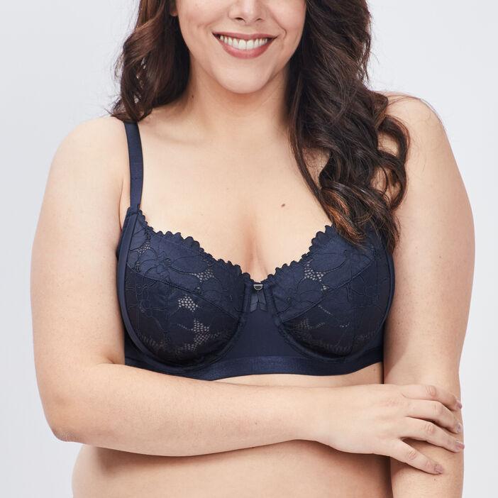 Soutien-gorge corbeille femme grande taille bleu marine