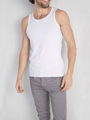 Debardeur bretelles larges blanc homme