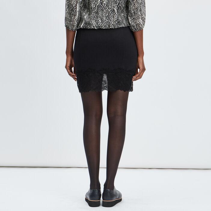 Jupe droite avec dentelle femme noir