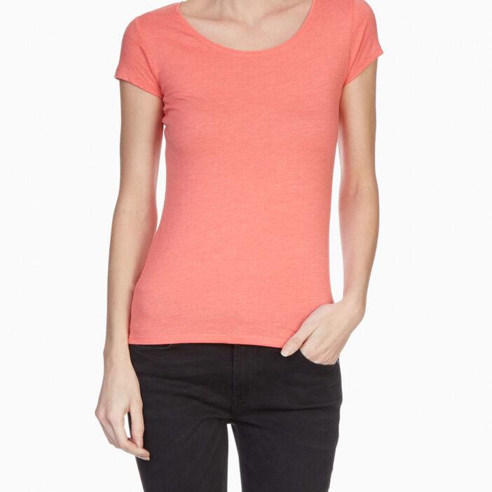 T-shirt chiné coton majoritaire femme orange corail