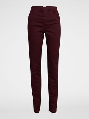Pantalon uni taille elastiquee prune femme