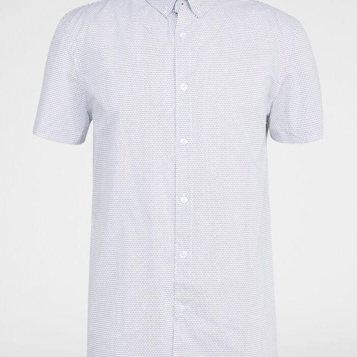 Chemise droite en coton imprimée homme blanc