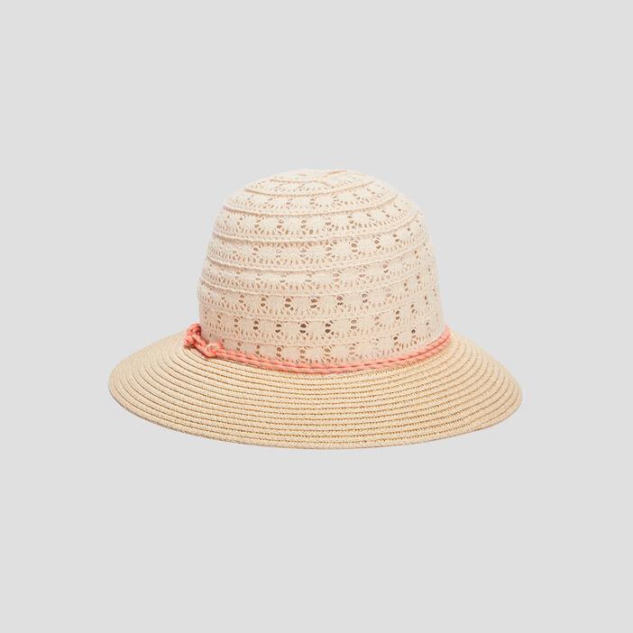 Chapeau détails sequins femme beige