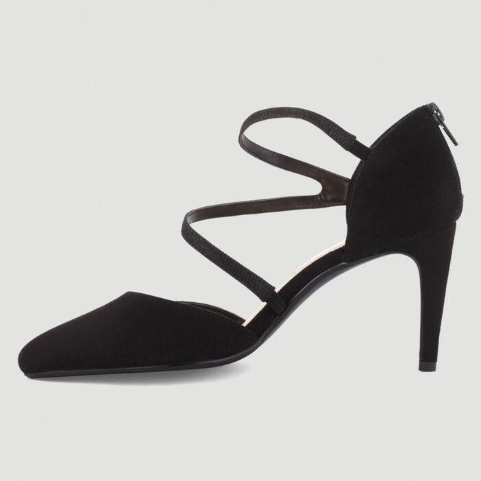 Escarpins zippés talon aiguille femme noir