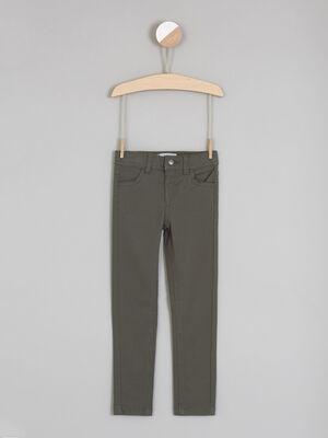 Pantalon uni coupe skinny vert kaki fille