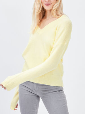 Pull avec col en V jaune femme