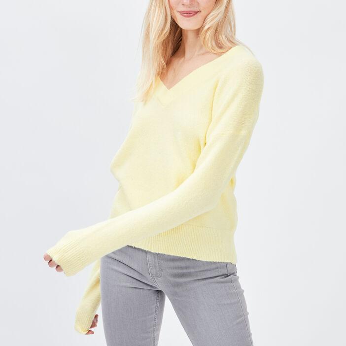 Pull avec col en V femme jaune