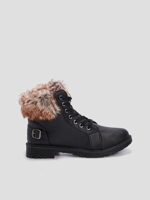 Boots fourrees col fourrure imitation noir femme