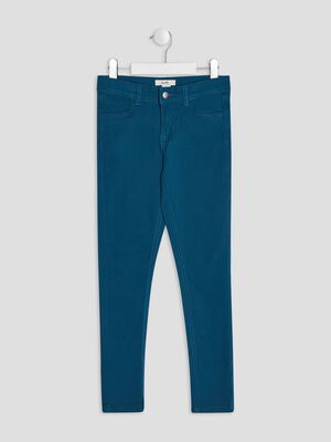 Pantalon skinny bleu canard fille