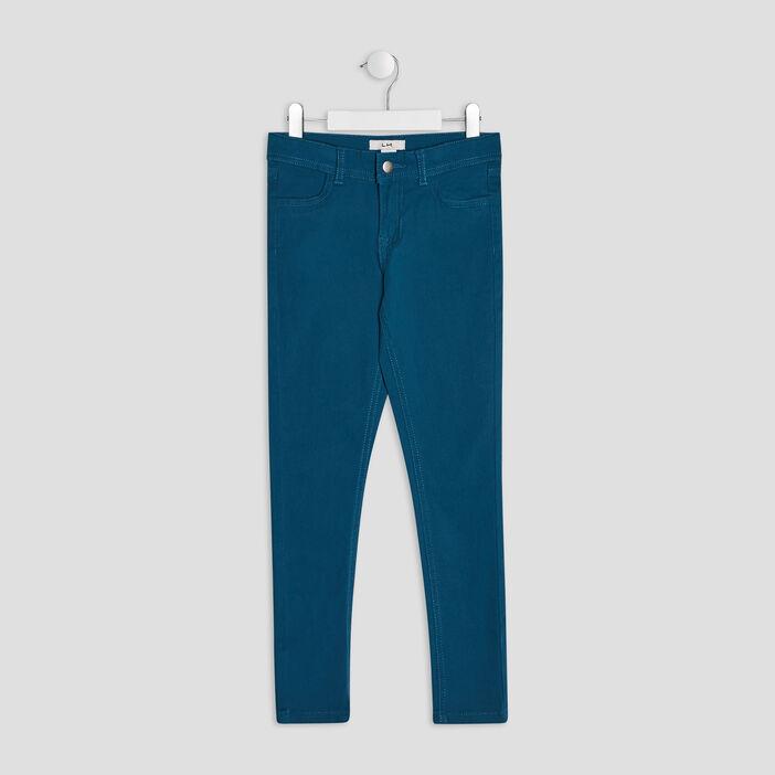 Pantalon skinny fille bleu canard