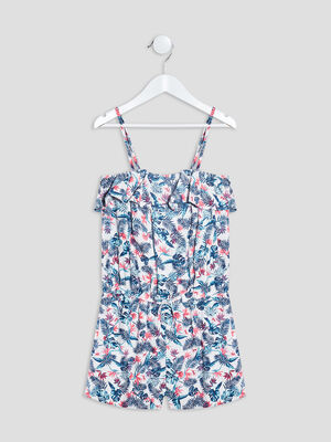 Combishort a volants blanc fille