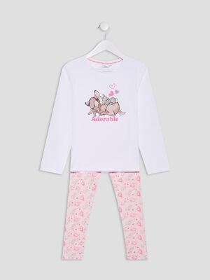 Ensemble pyjama Bambi blanc fille