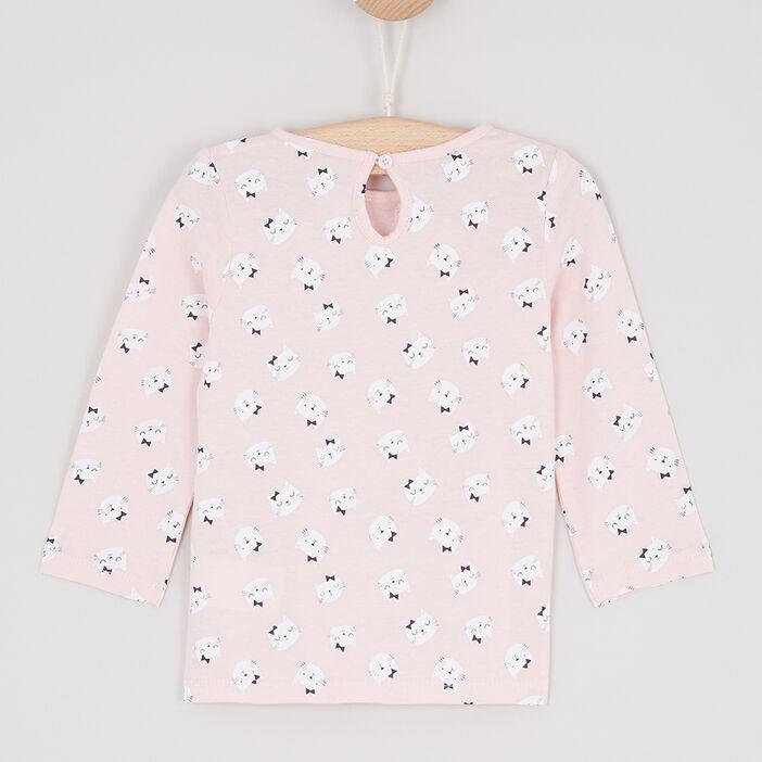 T-shirt col rond à message bébé fille rose clair